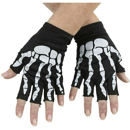 Black and Pink Bone Fingerless Gloves Child Halloween Accessory (Bones Halloween Food)