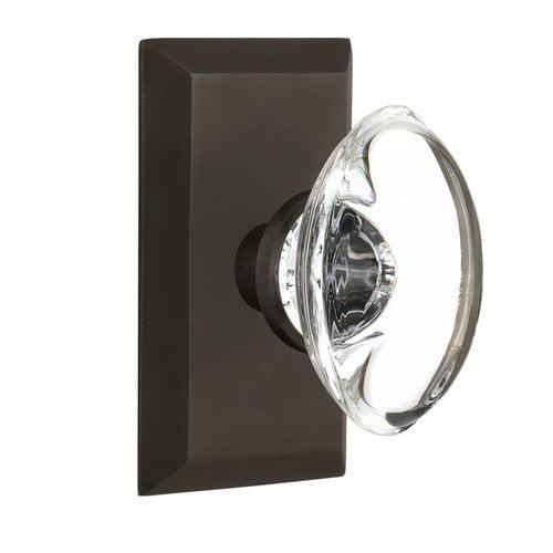 Nostalgic Warehouse Oval Clear Crystal Glass Single Dummy Door Knob with Studio Plate