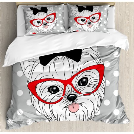 Yorkie King Size Duvet Cover Set, Tilted Head Terrier I Love My Yorkie Red Nerd Glasses Love Heart Polka Dots, Decorative 3 Piece Bedding Set with 2 Pillow Shams, Black White Red, by Ambesonne ()