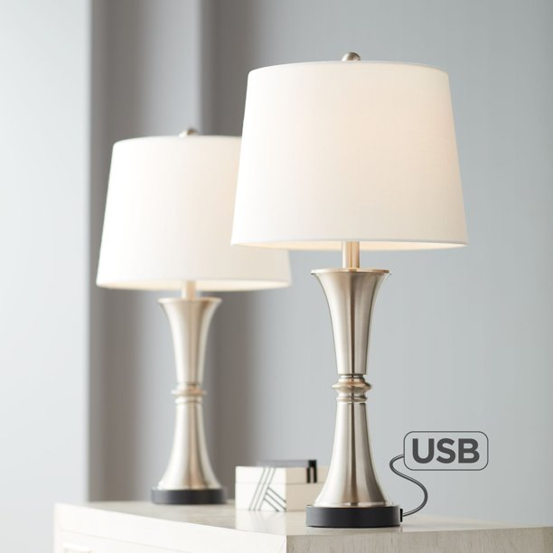 Modern Table Lamps Set of 2 with USB Port Bronze for Living