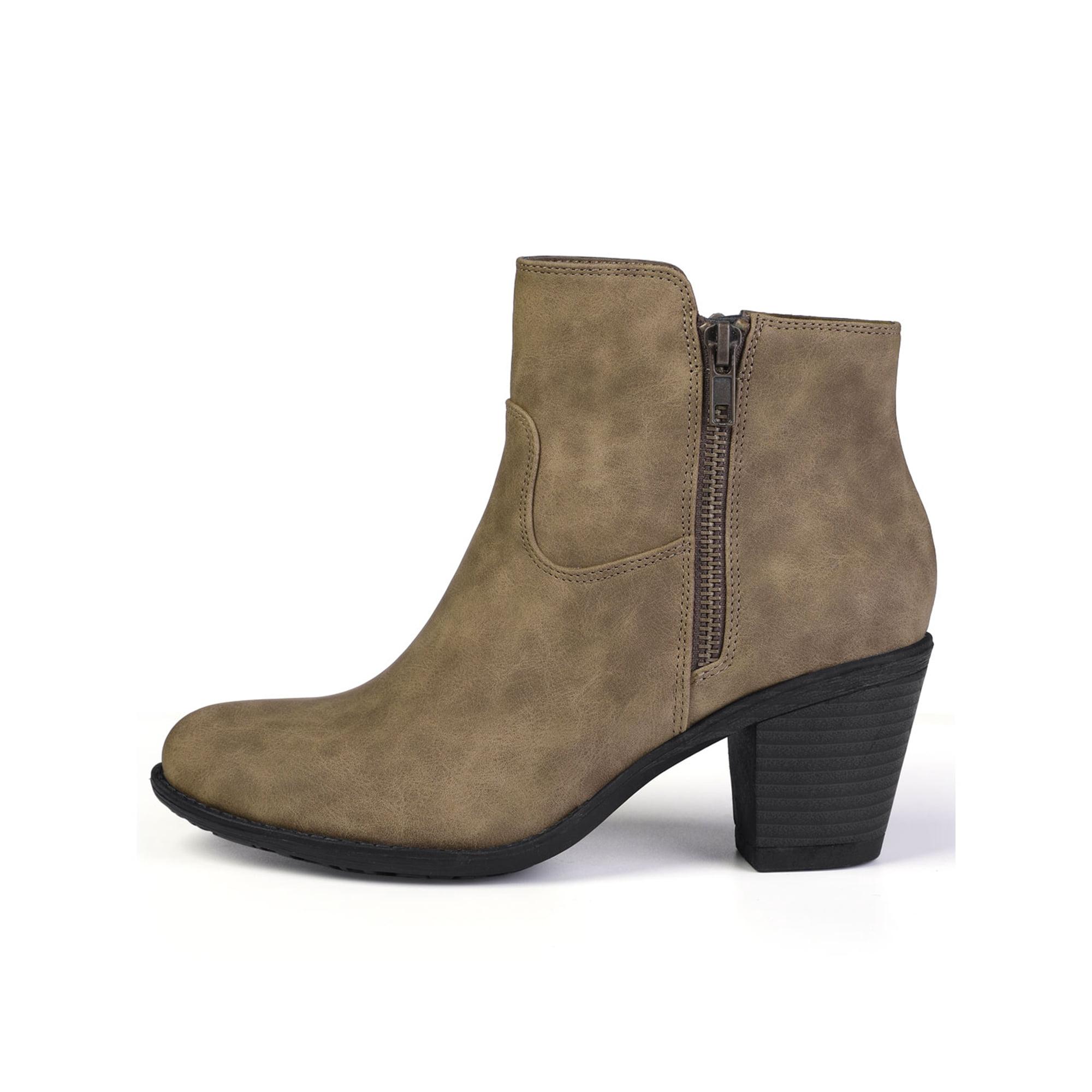 e7071c7af2 Unique Bargain Women's Round Toe Chunky Heel Zipper Ankle Boots Black (Size  6)