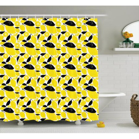 Lemons Shower Curtain Summer Breeze Sketched Yellow Lemon Figures And Skinless Half Slices Fabric