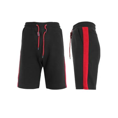Mens Tech Fleece Shorts With Stripe Contrast Side Trim Woven Contrast Side Stripes
