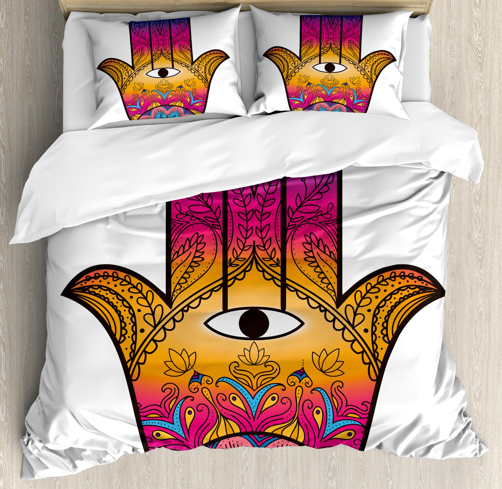 Hamsa King Size Duvet Cover Set, Colorful Ethnic Pattern ...