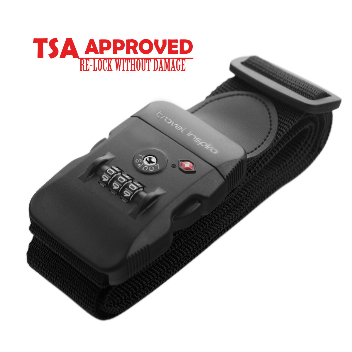 Travel Inspira TSA Lock Adjustable Travel Luggage Strap Belt for Bags, Suitcases (Black/Black)