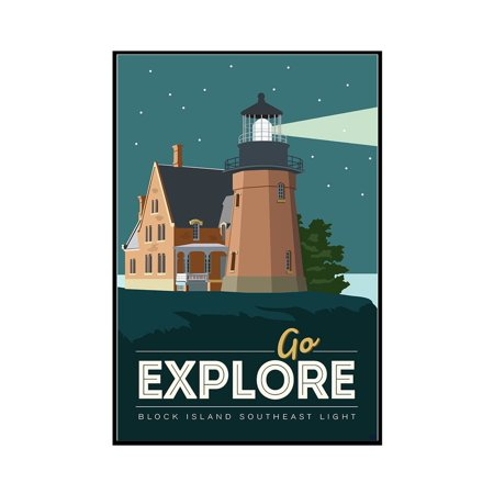 Block Island - Go Explore (Lighthouse) - Vector Style - Final - Lantern Press Artwork (12x18 Framed Gallery Wrapped Stretched Canvas)