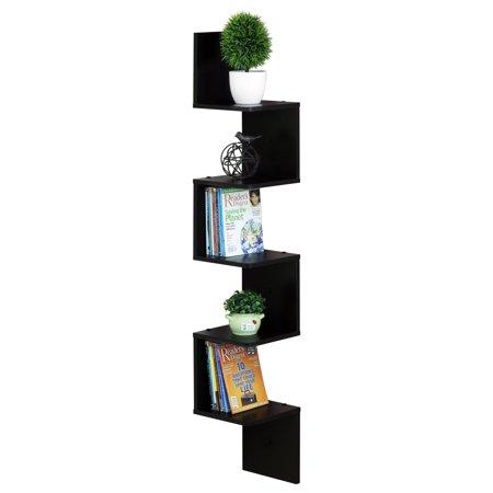 (Furinno 5 Tier Wall Mount Floating Corner Square Shelf, Espresso FR16123EX)