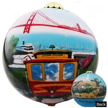 San Francisco California Scenic Reverse Painted Glass Ball Christmas  Ornament - San Francisco California Scenic Reverse Painted Glass Ball Christmas