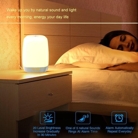 Wake Up Light Sunrise Alarm Clock Simulation Night Light Bedside Table Lamp  with 5 Natural Sounds, Dimmable LED Mood Light, Touch Sensor,3 Brightness