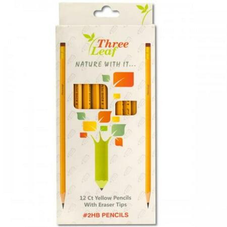 Bulk Buys KL20483 Yellow 2 HB Pencils With Eraser Tips - Bulk Pencils