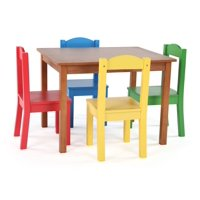 Tot Tutors Kids Wood Table and 4 Chairs Set, Multiple Colors