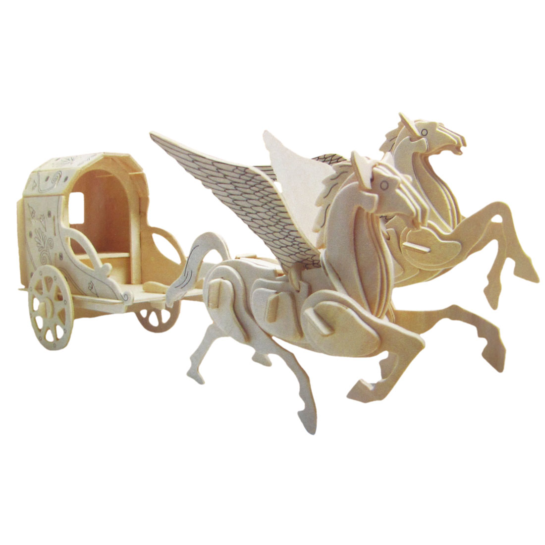 Kids 3D Wooden Pegasus Carriage Model Assembling Puzzle Toy
