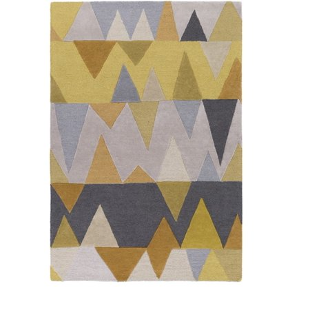 9 X 13 Mountain Stacks Iron Gray And Camel Brown Hand Tufted Wool Area Throw Rug
