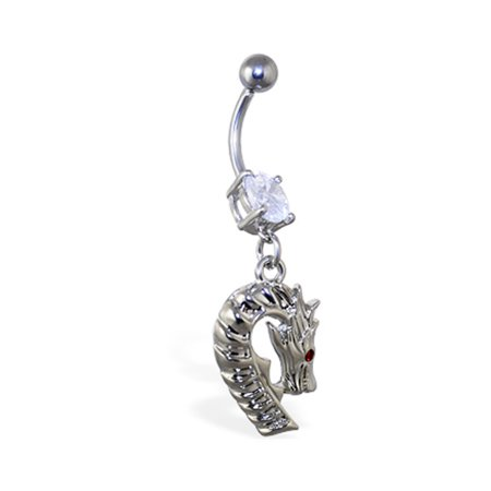 Navel Ring With Dangling Dragon Head