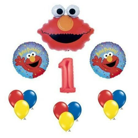 elmo sesame street #1 1st first birthday party supply balloon mylar latex - Elmo Birthday