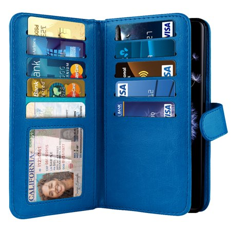 Blue Pouch (NEXTKIN Multi Card Slots Double Flap Wallet Pouch Case for Samsung Galaxy S9 Plus, Blue )