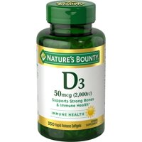 Nature's Bounty Vitamin D3 50 mcg (2000 IU), 350 Softgels