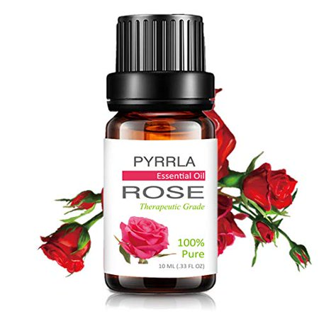 Pyrrla Essential Oil 10Ml Rose, Pure Therapeutic Grade Aromatherapy Essential Oils Basic Sampler Oils For Diffuser, Humidifier, Massage, Aromatherapy, Skin & Hair Care