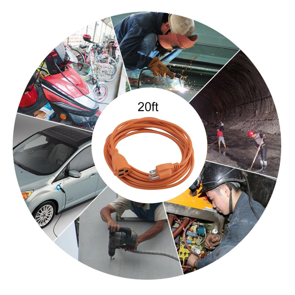 125V Indoor Outdoor Electric Cable Extension Heavy Duty Power Extension Cord Super Long Electric Extend Wire US Plug