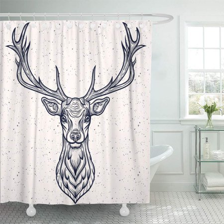 ATABIE Buck Vector Illustration of a Whitetail Deer Head Antler Shower Curtain 66x72 inch Whitetail Deer Shower Curtain