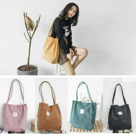 Women Fashion School Bags Corduroy magnetic button Shoulder Canvas Tote Bags Corduroy Purse Bag