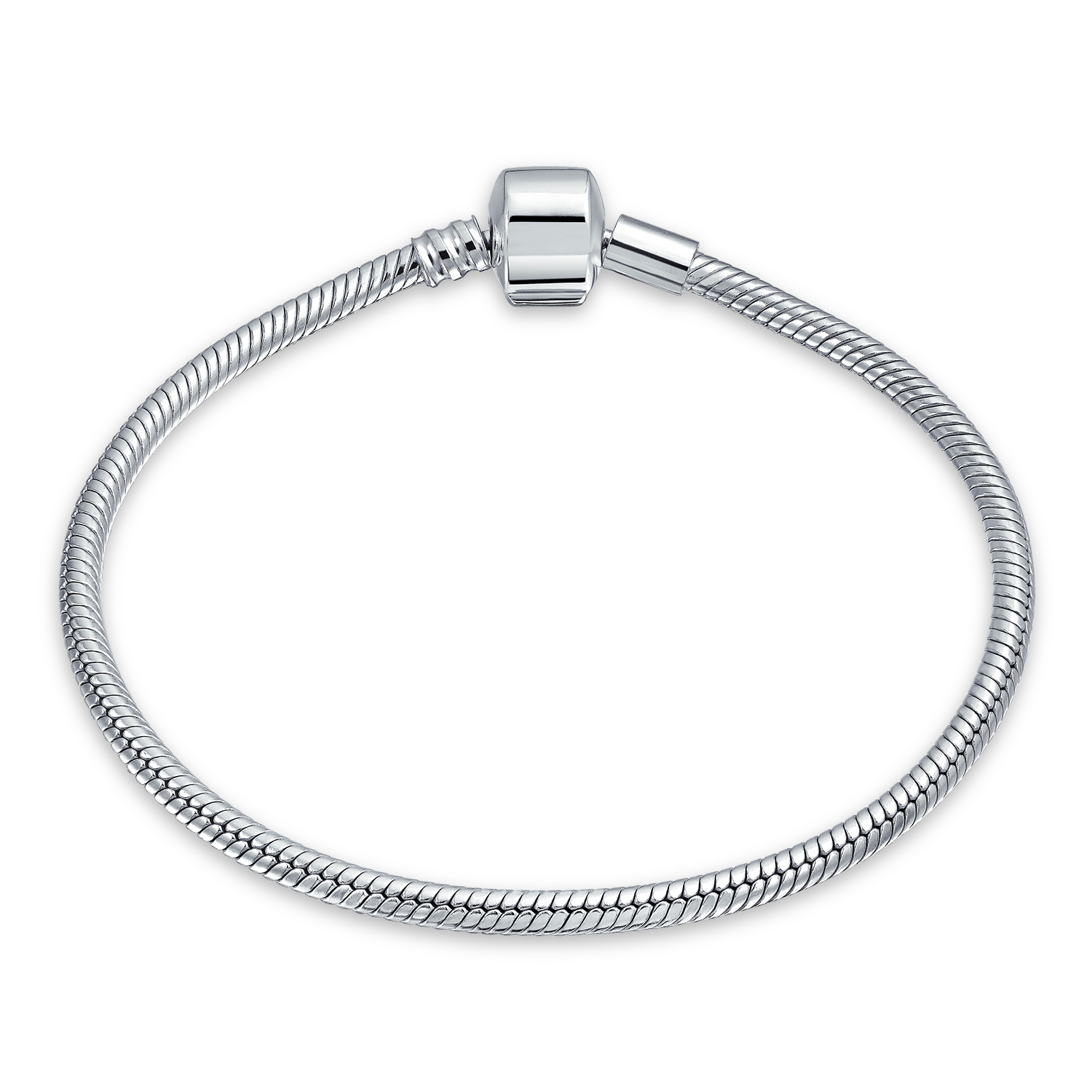 9 INCH EUROPEAN CHARM SNAKE CHAIN BRACELET FOR BEAD .925 SILVER ROUND CLASP R9