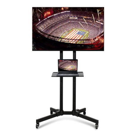 Yaheetech Mobile TV Cart Mount Stand for 32 to 65 Inch LED LCD Plasma Flat Screen Panels with Storage Shelves on Wheels ()