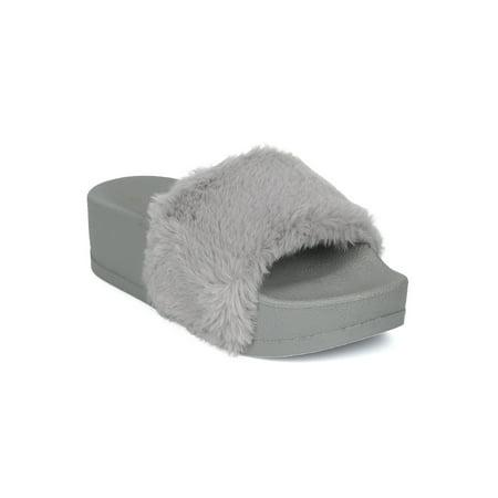 Women Faux Fur Flip Flop Platform Slide Slip On Flat Sandal Slipper 18168