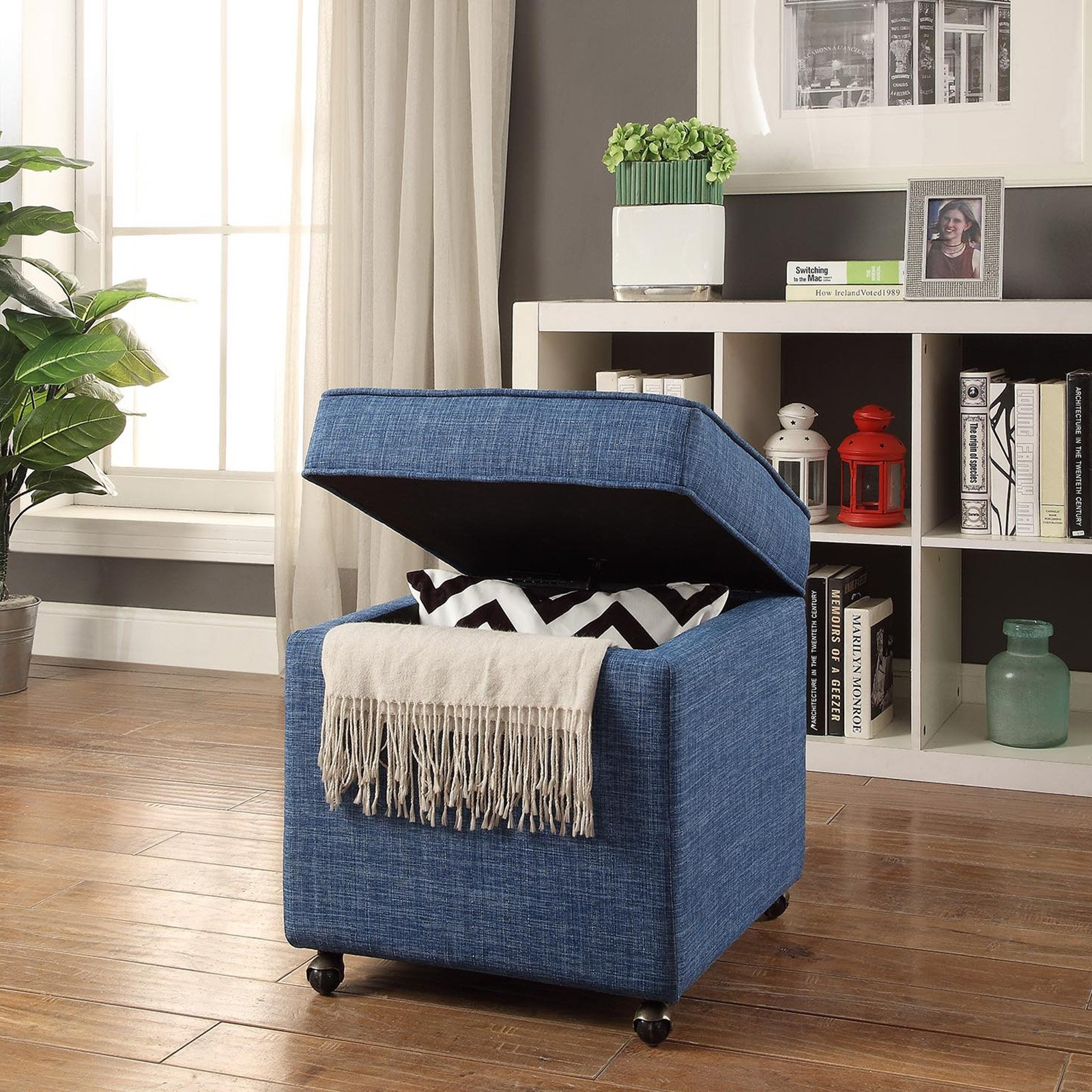 Inspired Home Sophie Linen Storage Ottoman Cube