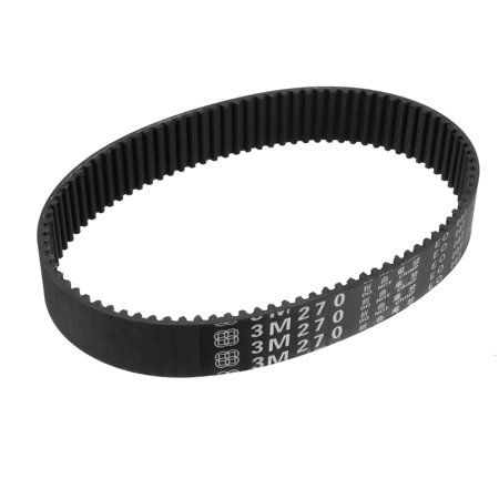 Unique Bargains HTD3M 90 Teeth 15mm Width 3mm Pitch 270mm Rubber Timing Belt Black - image 1 de 1