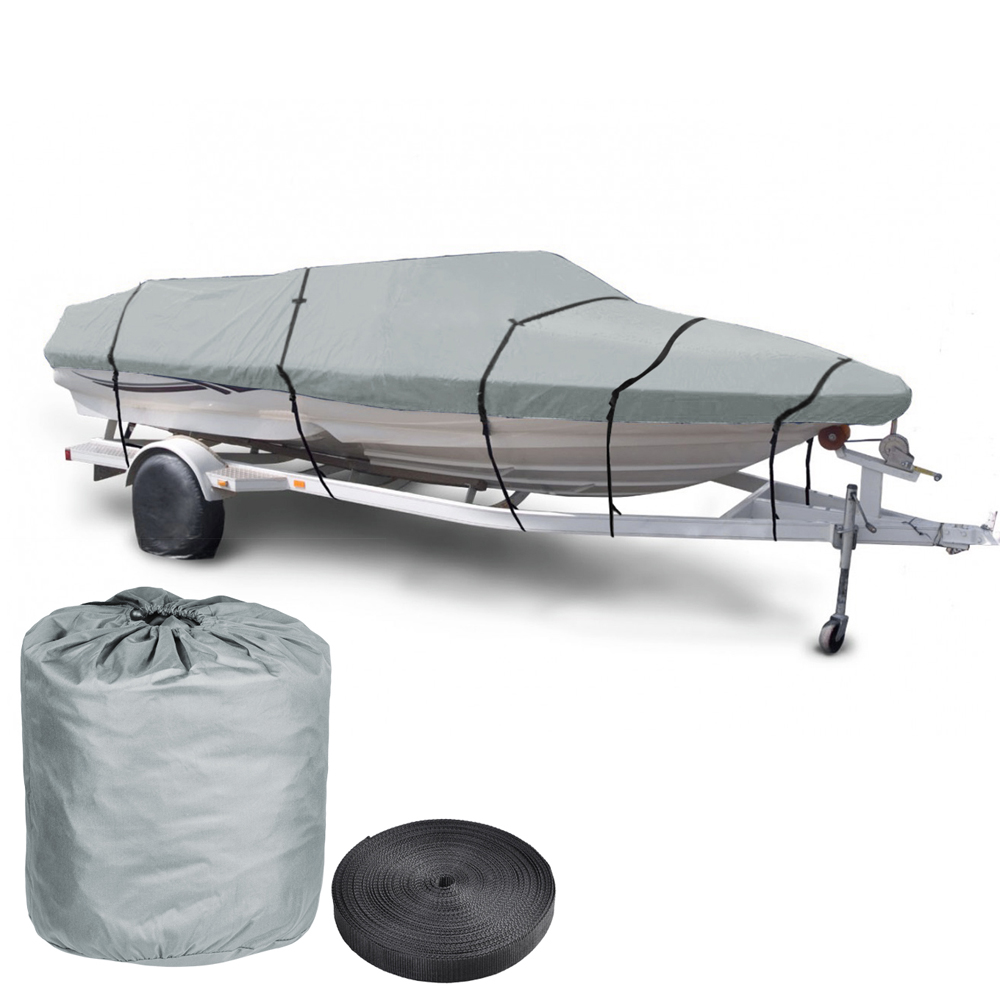 "Yescom 17 18 19' 600D V-Hull Fish Ski Boat Cover Trailerable Beam 95"" with Oxford Bag Grey by Yescom"