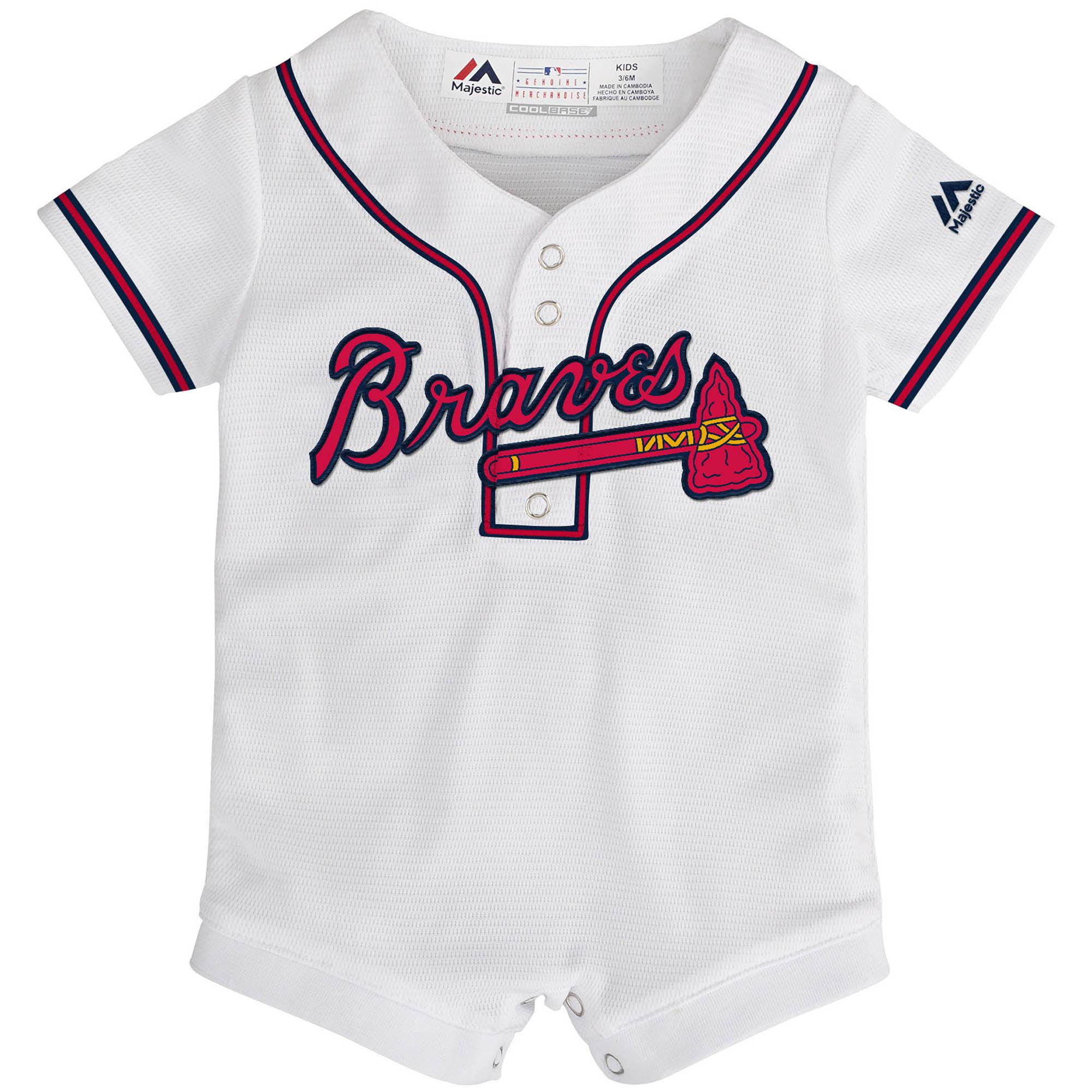 sale retailer 5ab6a c6983 Atlanta Braves Majestic Newborn & Infant Home Cool Base Jersey Romper -  White