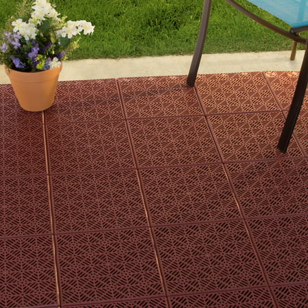 4 Slat Deck Tiles - Pure Garden Interlocking Patio, Deck or Garage Floor Tiles - 11.5 x 11.5