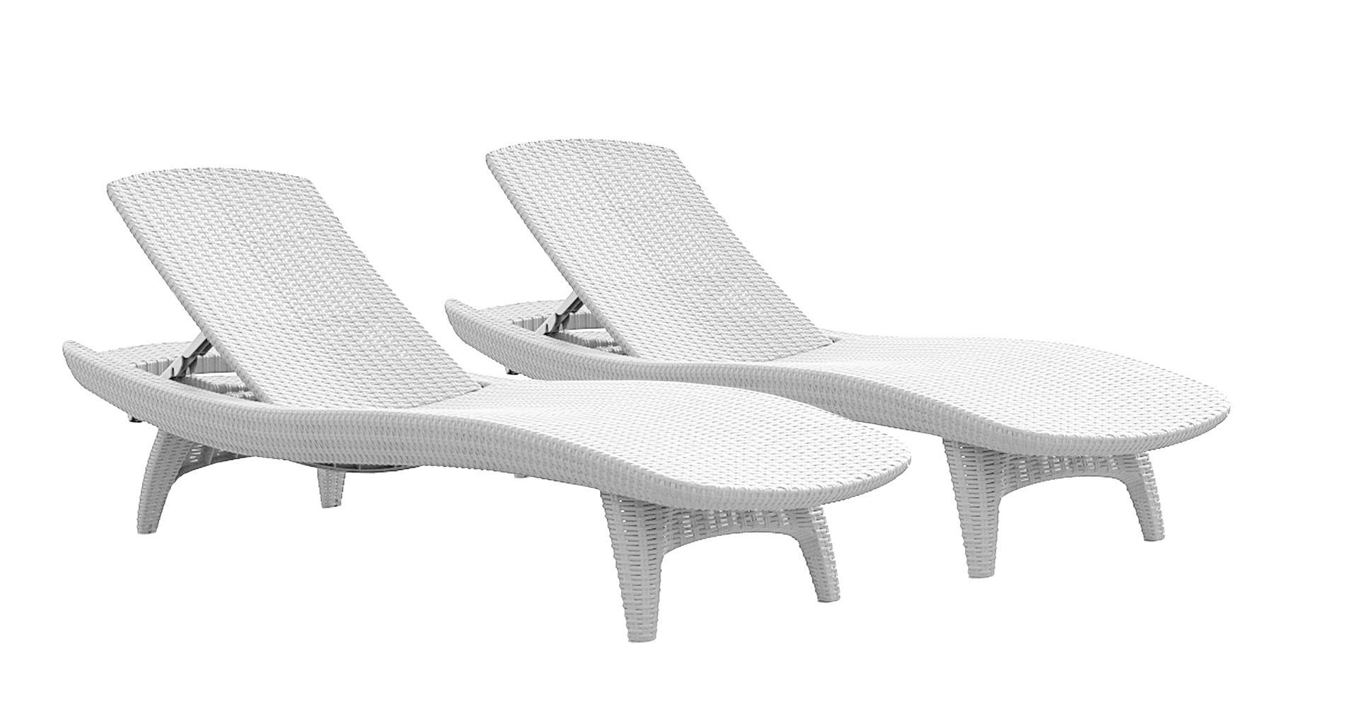 Bon Product Image Keter Pacific Chaise Sun Lounger 2 Pack Adjustable, Brown