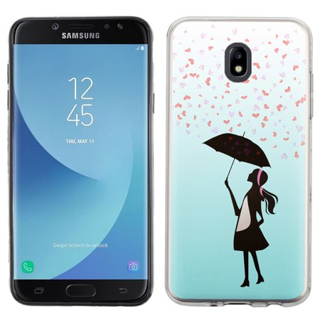 Aura Heart - For Samsung Galaxy J7 Crown / J7 Aura Case, OneToughShield ® TPU Gel Protective Slim-Fit Phone Case - Rain/Hearts