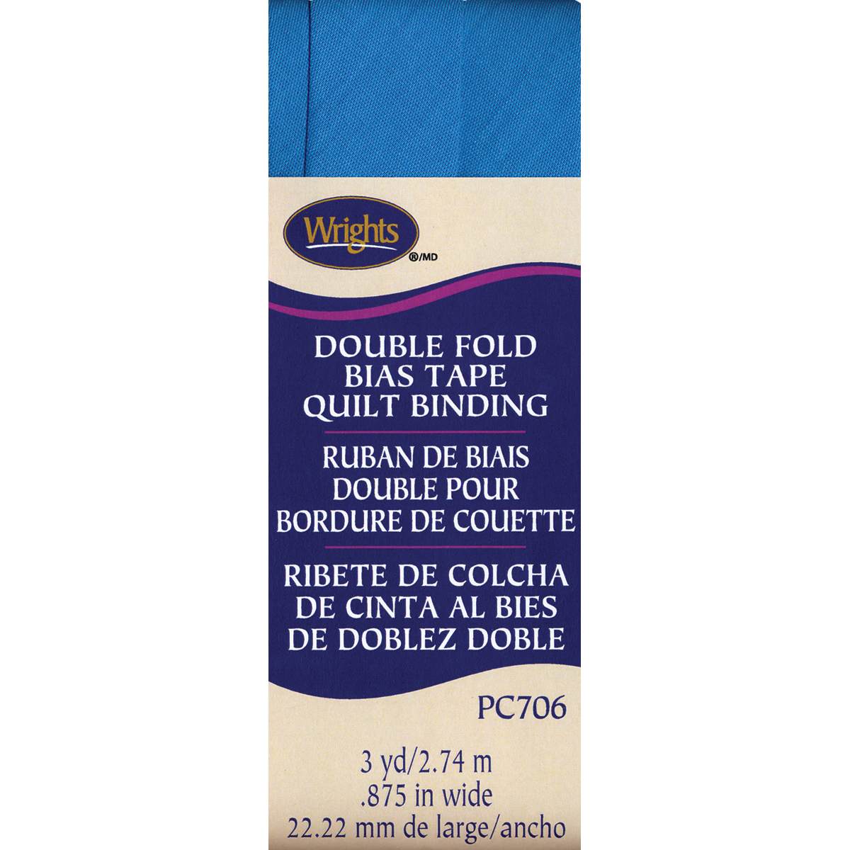 "Wrights 7/8""x3 Yd Double Fold Quilt Binding-Turquoise"