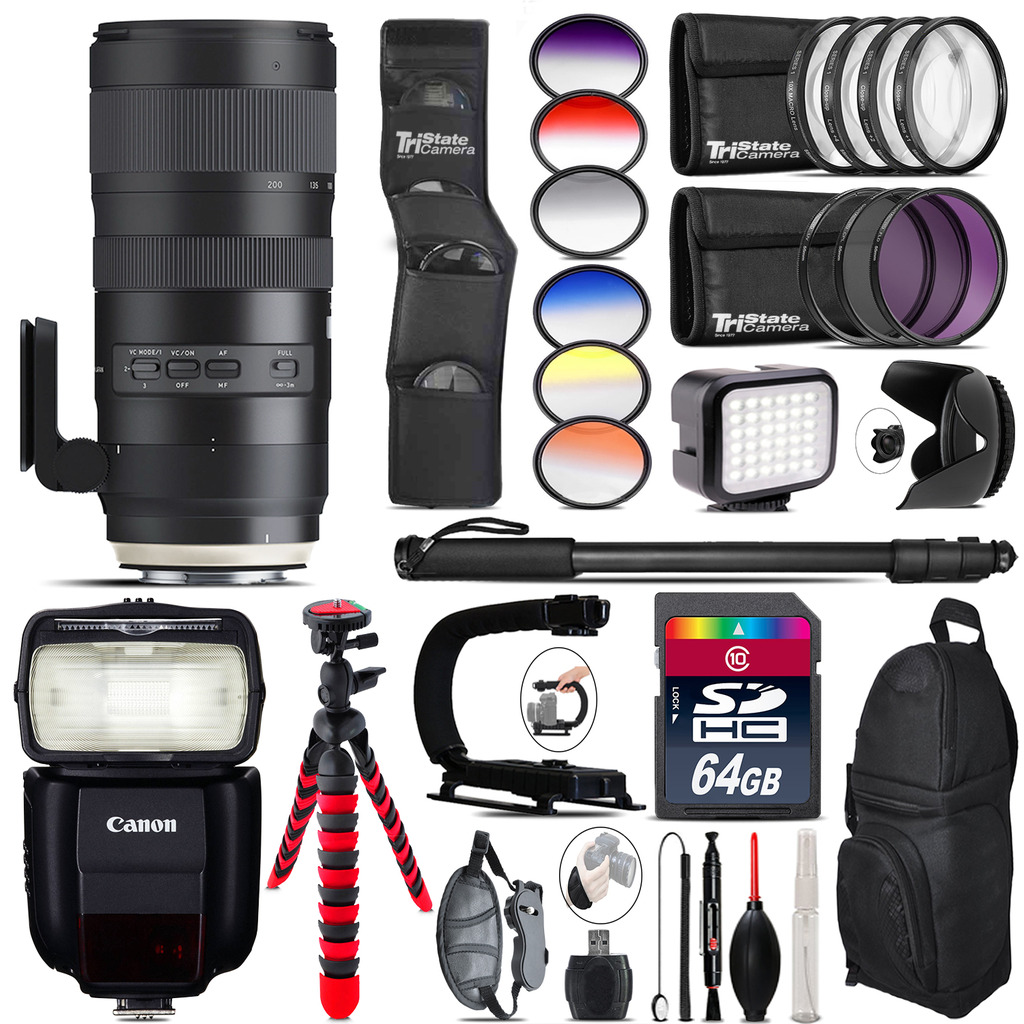 Tamron 70-200mm G2 for Canon + Speedlite 430EX + LED 64GB Accessory Kit by Tamron