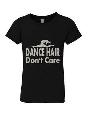 Big Girls Black Silver Glitter Crew Neck Dance Hair Don't Care T-Shirt