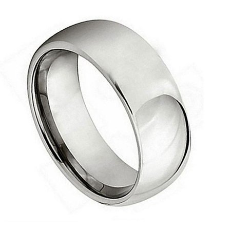 High Dome Ring (Men Women 7MM Comfort Fit Titanium Wedding Band High Polished Shiny Domed Titanium Ring (Size 7 to 15))