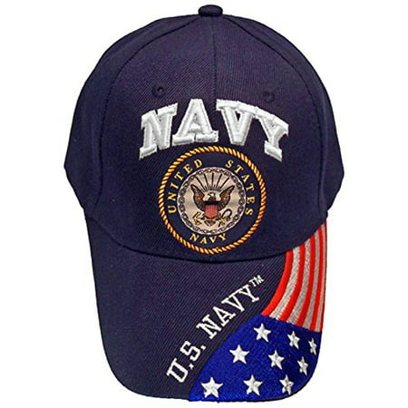 Buy Caps and Hats Navy Veteran Baseball Cap Vet Military Mens One Size (U.S. Navy with Flag (Checkered Flag Baseball Cap)