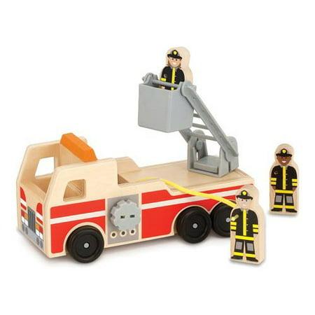 - Melissa & Doug Wooden Fire Truck With 3 Firefighter Play Figures