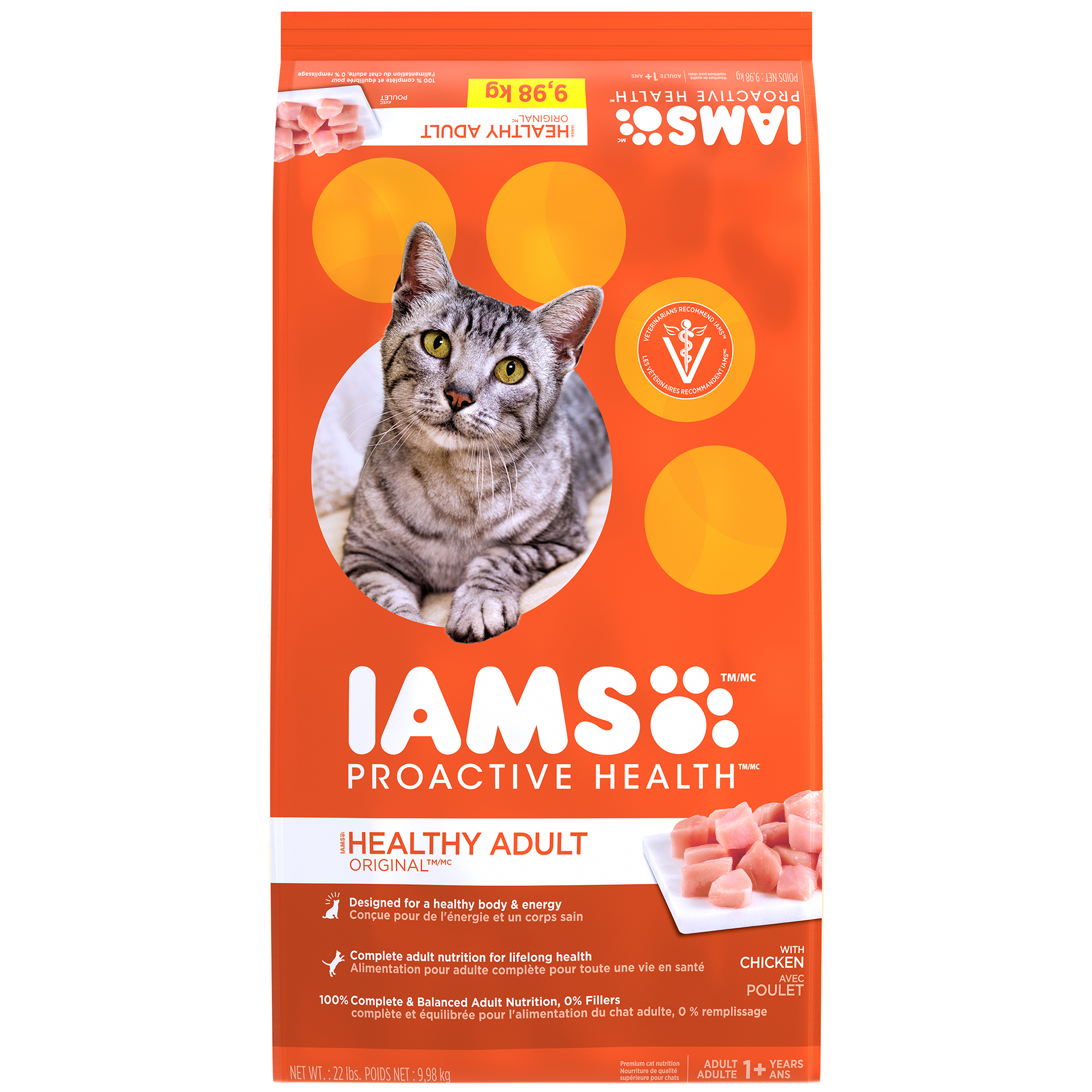 IAMS PROACTIVE HEALTH HEALTHY ADULT ORIGINAL with Chicken Dry Cat Food 22 Pounds by Mars Petcare