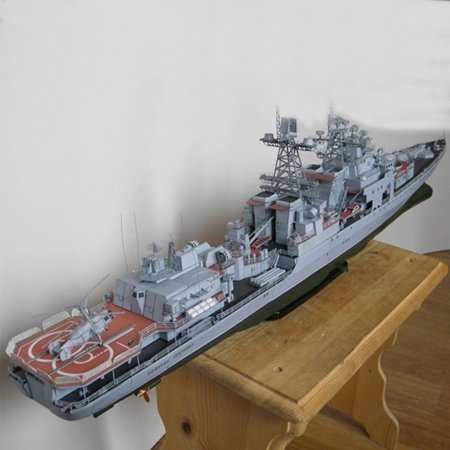 Missile Kit - 1:200 Scale Papper Battleship Model Russian Missile Destroyer Ship 3D Warship Model Kit DIY Toy