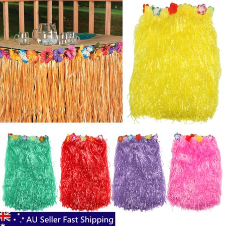 Meigar Hawaiian Luau Multicolored Tiki Party Garden Beach Table Skirt Decorations (L)X(W)96.06''X29.53'' (Hawaiian Party Decoration)