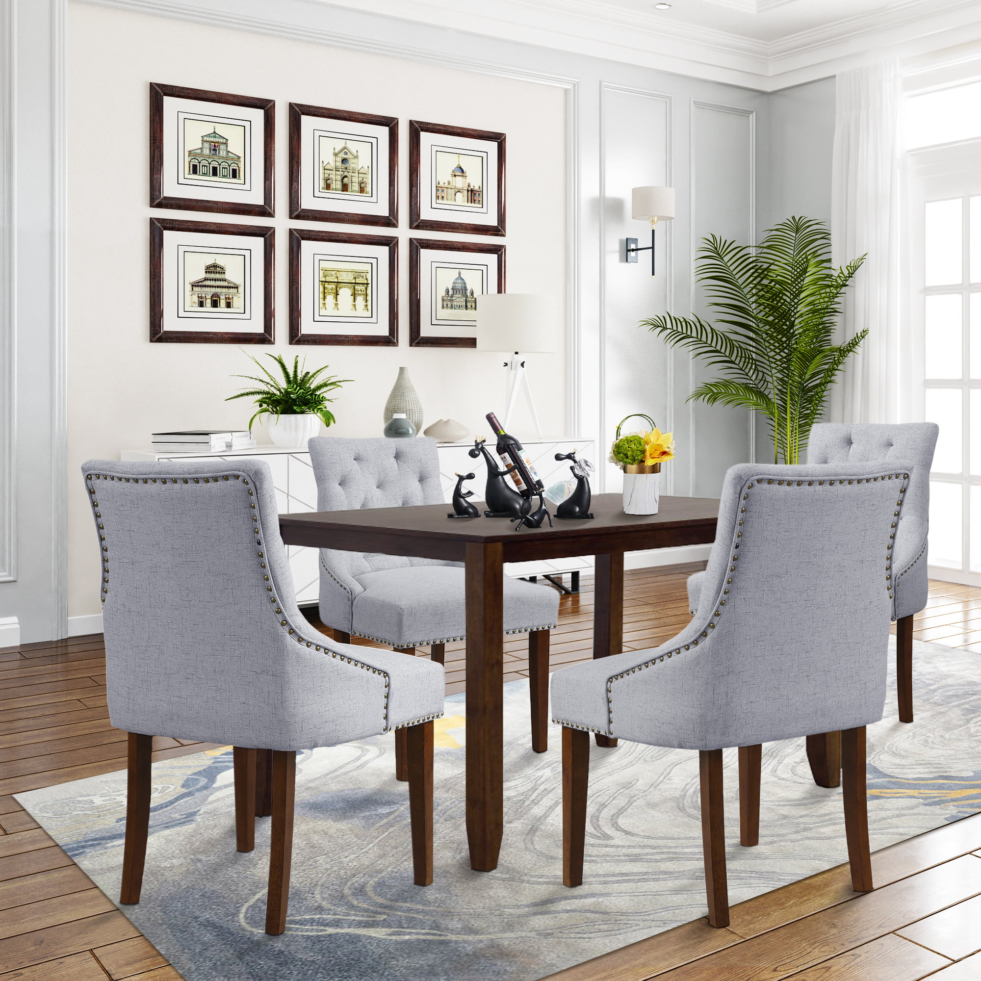Tufted Upholstered Dining Chairs Set Of 6 Fabric Dining Chairs With Armrest Nailhead Trim And Solid Wood Leg Vintage Dining Room Chairs Classic Accent Chair For Living Room Meeting Gray W12138