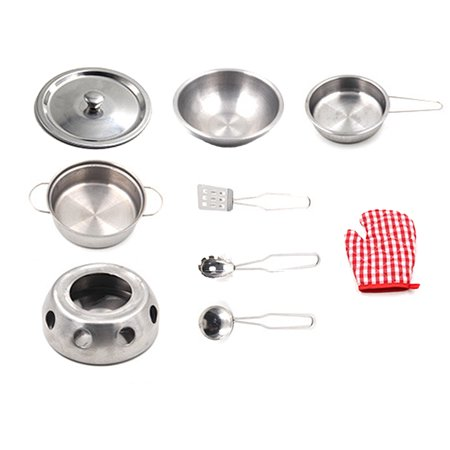 11 Piece Mini Kitchenware Set with Stainless Steel Pots and Pans Soup Spoon Simulation Stove Kitchen Cookware Playset for