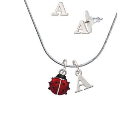 Bug Necklace (Mini Red Translucent Ladybug - A Initial Charm Necklace and Stud Earrings Jewelry)