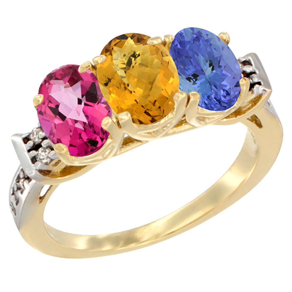 14K Yellow Gold Natural Pink Topaz, Whisky Quartz & Tanzanite Ring 3-Stone Oval 7x5 mm Diamond Accent, sizes 5 10 by WorldJewels