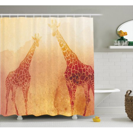 Safari Decor Shower Curtain Set, Illustration Of Tropic African Giraffes Tallest Neck Animal Mammal In Retro Vintage Print, Bathroom Accessories, 69W X 70L Inches, By Ambesonne
