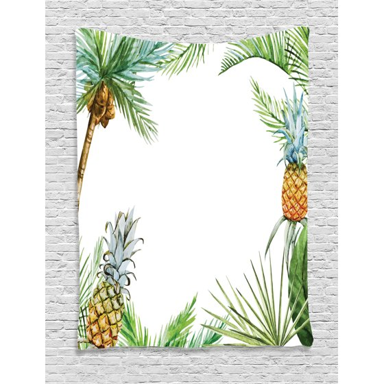Borders Around Trees: Pineapple Decor Tapestry, Watercolor Tropical Island